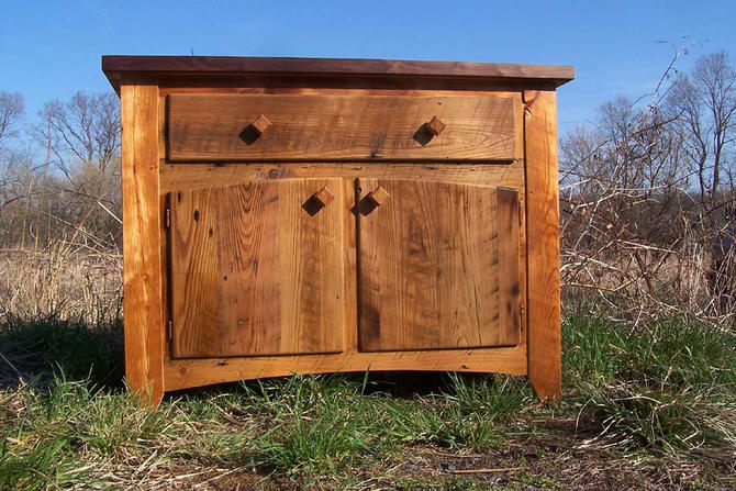 Butcher Block Kitchen Island from Reclaimed Hardwood with Cabinet Base by BarnWoodFurniture