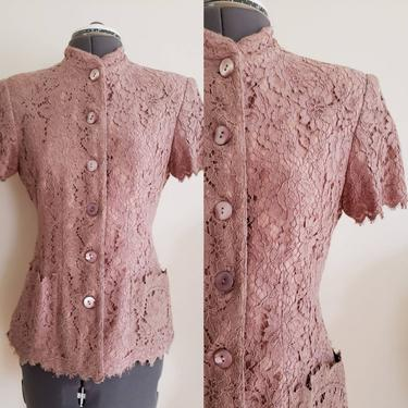 1990s Lolita Lempicka Lace Jacket Taupe Beige Pink / 90s Button Down Short Sleeved Summer Jacket Shabby Chic Mori Girl / S 40 by RareJuleVintage