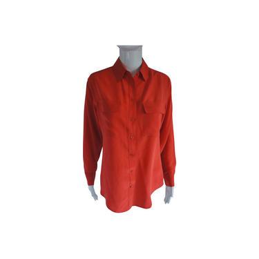 Equipment Orange Signature Silk Shirt Button-down Top by MetronomeThreads