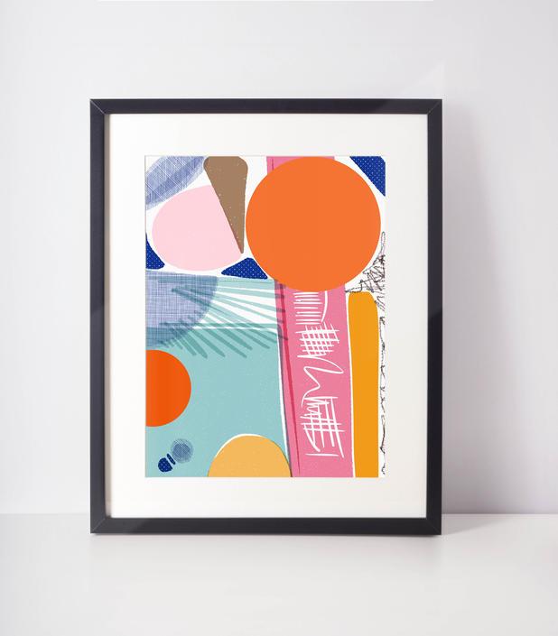 Miami Beach | Art Print | Bold Home Decor | Miami colors | Dorm room decor | Pink abstract by VioletredStudio