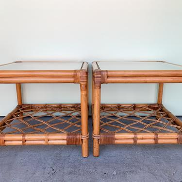 Pair of Island Chic Ficks Reed End Tables