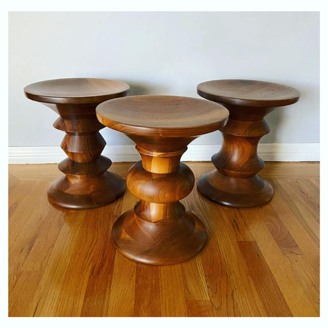 (AVAILABLE) 3 Authentic Eames Time Life Walnut Pedestal Stools Herman Miller
