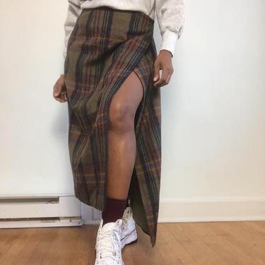 Vintage 1970s 1980s 80s Wool Plaid Skirt Long Wrap Tartan Straight Midi Calf Length Maxi High Waist Olive Brown Tones GH Bass & Co Medium by KeepersVintage