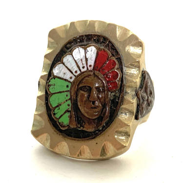 Vintage MEXICAN BIKER RING ~ size 9 ~ Native American Chief ~ Mexico Souvenir ~ Rockabilly ~ 1940s / 1950s by SparrowsAndWolves