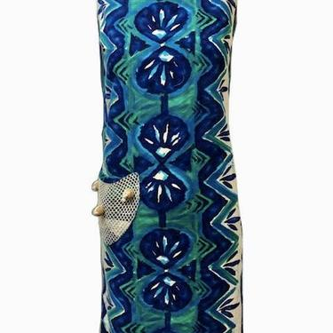 60s Island Casuals Blue Hawaiian Print Bark Cloth Dress