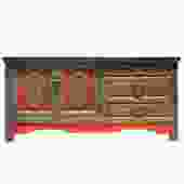 Chinese Distressed Olive Green Red Graphic Low TV Console Table Cabinet cs5142S