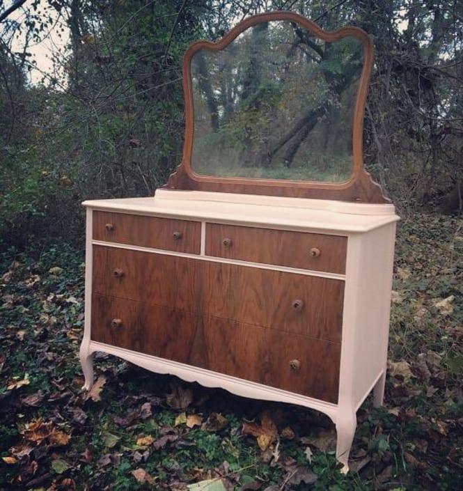 "Re-imagined antique dresser. 47.5"" width. 23"" depth. 70"" height. 😍😍😍 $450"