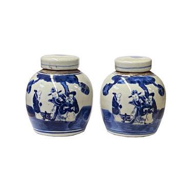 Pair Blue White Small Oriental 3 Star God Porcelain Ginger Jars ws1382E by GoldenLotusAntiques