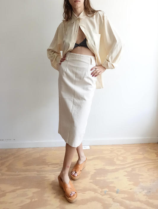 Vintage 90s Canvas Pencil Skirt/ High Waisted Fitted Midi Skirt/ 50s style/ off white ivory denim Skirt/ small 25 by bottleofbread