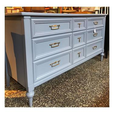 """Elegant gray painted dresser with brass handles / 9 drawers total. Measurements 62"""" long / 20"""" deep / 32"""" height"""