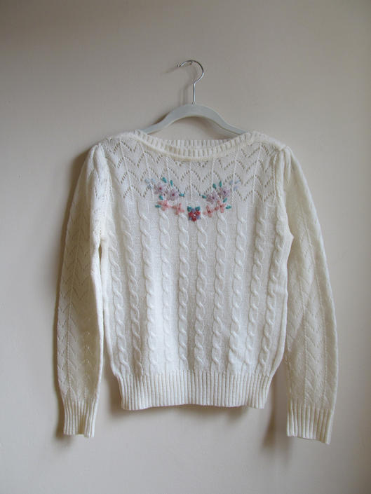 80s Embroidered Cable Knit Sweater S 34 Bust by pasadenavintage