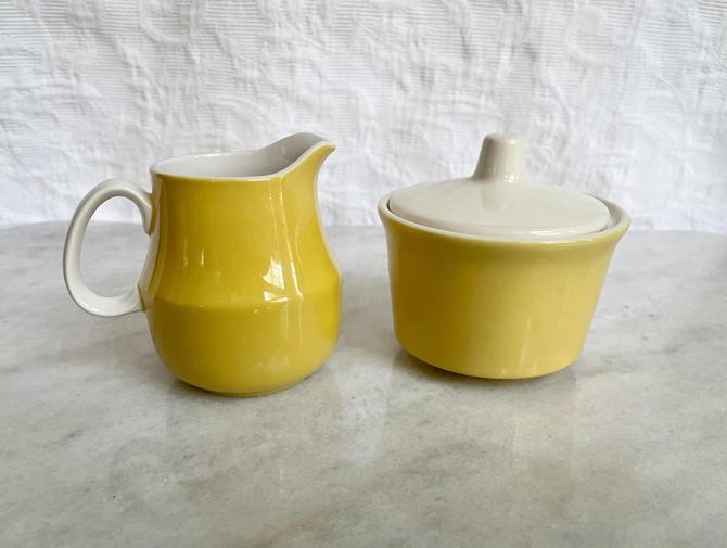 Vintage Yellow and White Mikasa Cera-Stone Sugar & Creamer Set, Made in Japan, D1300, MCM Retro Kitchen Tea Set by BlackcurrantPreserve