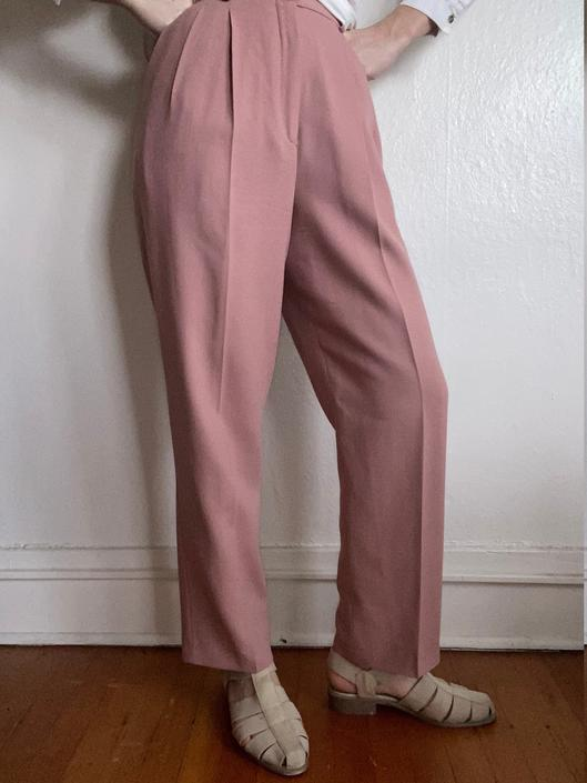 vintage wool pale rose high waisted trousers size us 10 by miragevintageseattle