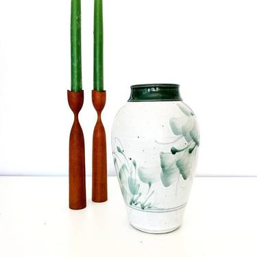 Vintage Studio Pottery w/ Handpainted Botanicals Vase by pennyportland