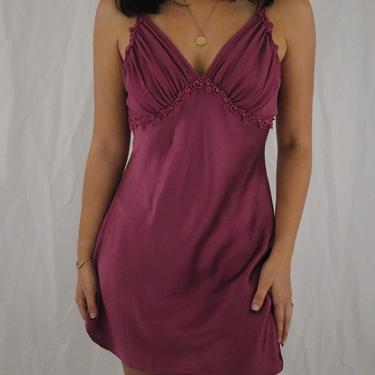 Vintage 80's Victoria's Secret Berry Silk + Lace Slip Dress - Medium by LadyLVintageCo
