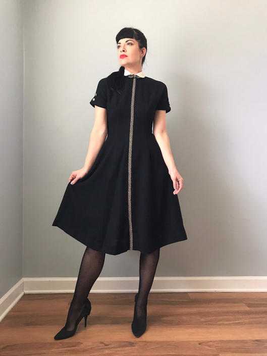 vintage 50s black dress | peter pan collar embroidered wool dress | lolita short sleeve a-line dress by LosGitanosVintage