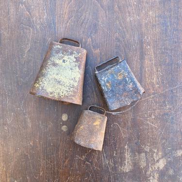 Set of 3 Vintage Midwest Cowbells Rustic Farm Decor by NorthGroveAntiques