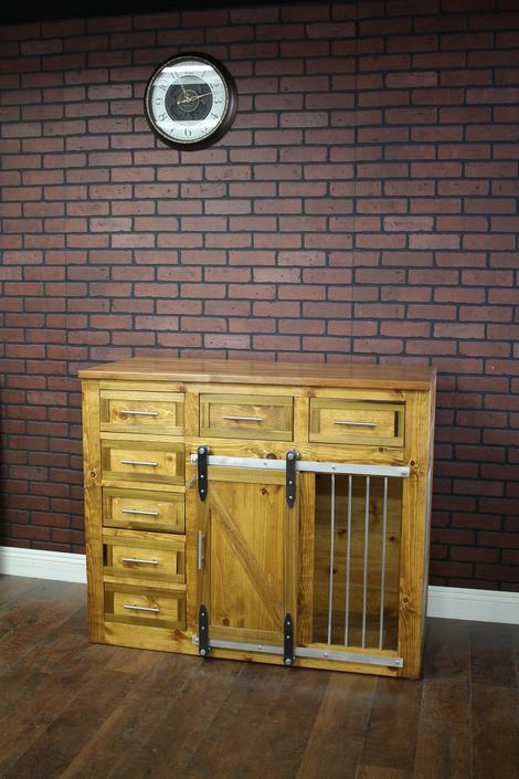 Doggie Kennel Credenza Media Center - Sliding barn doors / crate with storage / Dog House / farmhouse pet / dog crate by TheRusticForest