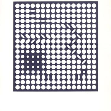Vintage Victor Vasarely Op Art Lithograph 1970s by 20cModern