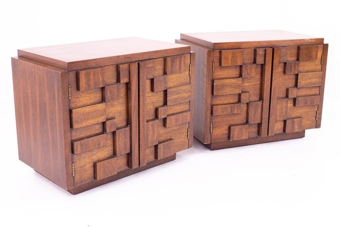 Paul Evans Style Lane Mid Century Brutalist Nightstand Side End Tables - Pair - mcm by ModernHill