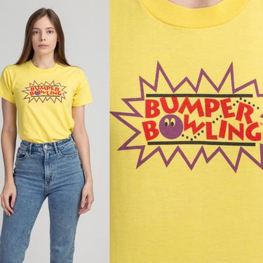 80s Bumper Bowling T Shirt - Extra Small | Vintage Yellow Graphic Bowler Tee by FlyingAppleVintage