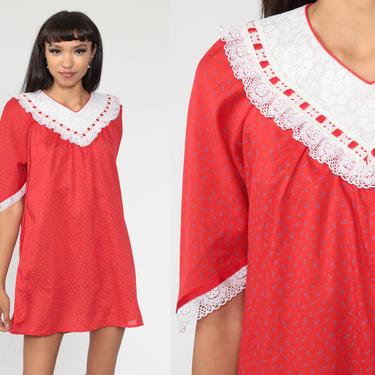 Red Tent Dress 70s Lace Collar Dress Hawaiian Tent Dress Mini Summer Festival Hippie Bohemian Vintage Trapeze Boho Caftan Small Medium by ShopExile