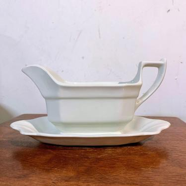 Vintage Adams China Hexagon White Gravy Boat with Attached Underplate by OverTheYearsFinds