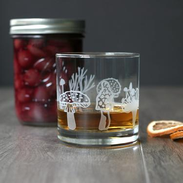 Mushroom Hunter Collection Cocktail Glass - forest fungi forager by BreadandBadger