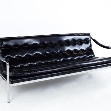 Milo Baughman Style Mid Century Tufted Chrome Sofa - mcm by ModernHill