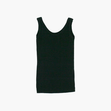 Vintage 1990s Tank Top - Scoop Neck - Black - Ribbed - Small  - Minimal - Tee Shirt - Blouse - Muscle Tank by zipperfactory