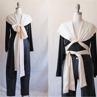 Vintage 70s Calvin Klein Silk Bow Tie Blouse/ 1970s Black White Tie Front Top/ Size XS Small by bottleofbread