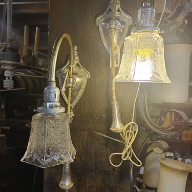 A pair of Beautiful Victorian counter weighted pull down sconce w/etched glass shade