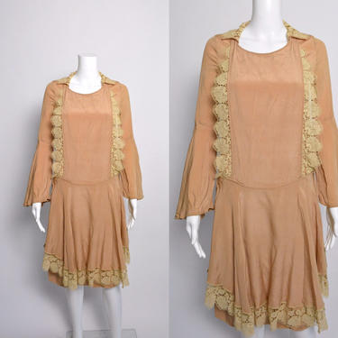 1920s Dress 20s Silk Day Dress with Scalloped Lace by littlestarsvintage