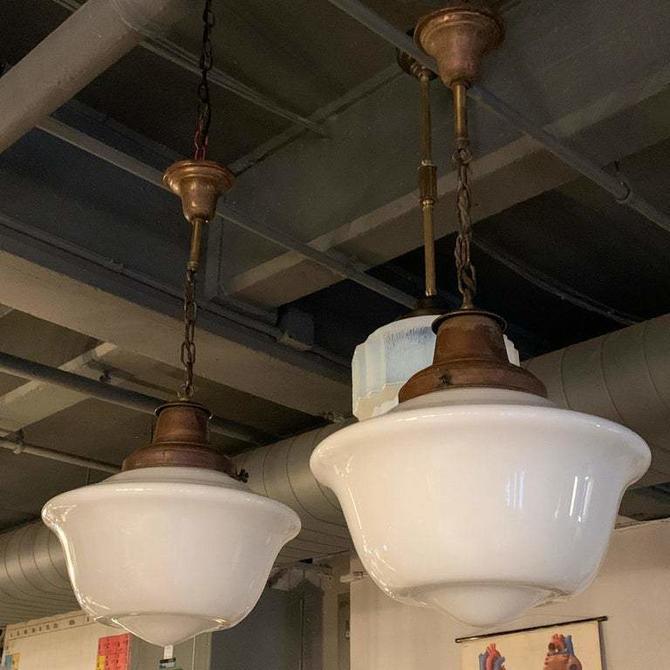 Art Deco Milk Glass And Brass Library Pendants
