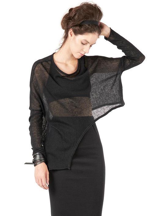 Endorfo Sheer Asymmetric Pullover Sweater