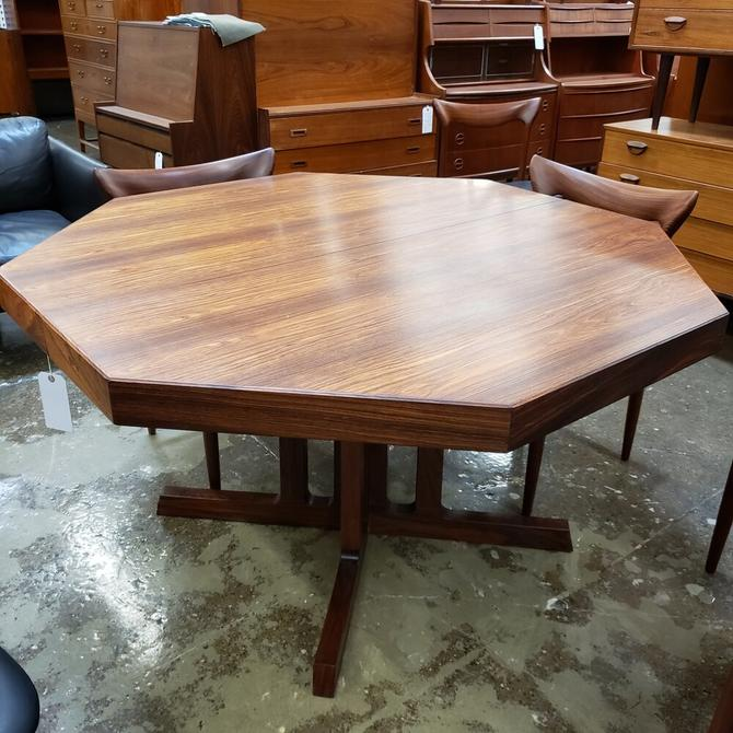 Johannes Andersen Octagon Rosewood Dining Table with Leaf