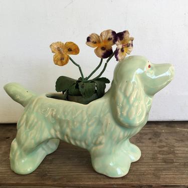 Vintage McCoy? Green Dog Planter, Cocker Spaniel, Indoor Air Planter by luckduck