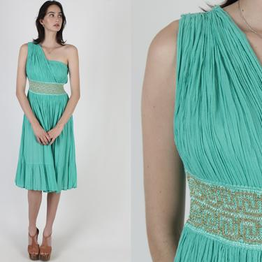 Green Gauze Roman Dress / Thin Gold Metallic Threads / Toga Party Crochet Waistband / Vintage 80s Grecian Goddess Wrap Midi Dress by americanarchive