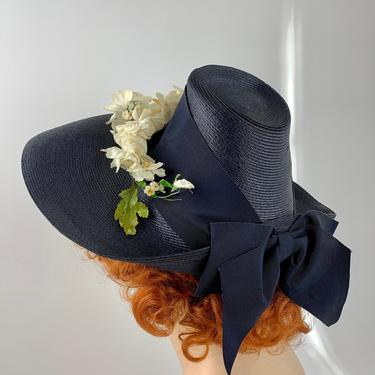 Vintage 1940'S Brimmed Straw Hat - Navy Blue Straw - Clusters of White Vintage Flowers - Wide Grosgrain Wrap & Bow by GabrielasVintage