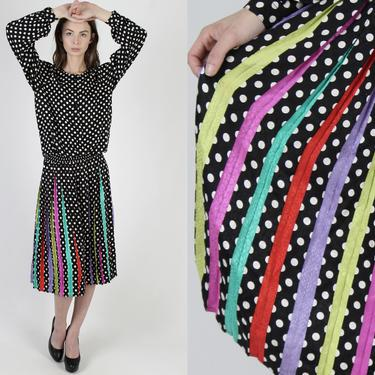 Black Silk Pleated Maxi Dress / White Tiny Polka Dot Print / Vintage 80s Rainbow Striped Skirt / Silky Cocktail Evening Party Midi Dress by americanarchive