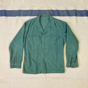 Size S Vintage USMC P-56 P-58 Olive Green Cotton Sateen Utility Shirt with Inner Map Pocket by BriarVintage