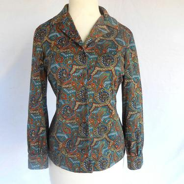 Vintage Paisley Colorful Blouse Polyester Oxford Button Up by Ralph Originals by kissmyattvintage