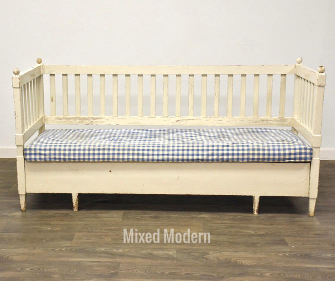 18th Century White Swedish Daybed Bench Sofa by mixedmodern1