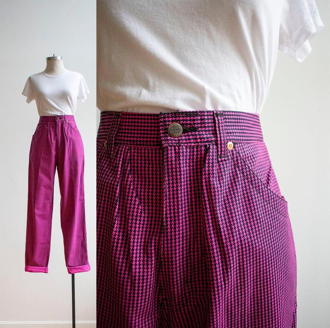 Vintage 1970s Carpenter Pants / Vintage Pink Houndstooth Pants 28 / Wild Bright Vintage Pants Size 28 / VTG Houndstooth Pants Womens Small by milkandice