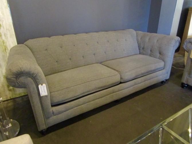 CHESTERFIELD SOFA IN GREY UPHOLSTERY WITH SILVER NAIL HEAD TRIM