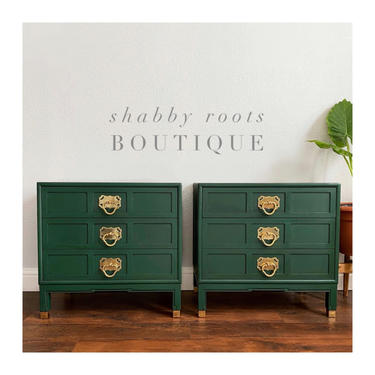 Beautiful set of nightstands- vintage Mid Century Modern emerald green chinoiserie chic- brass /gold hardware San Francisco CA by ShabbyRootsBoutique