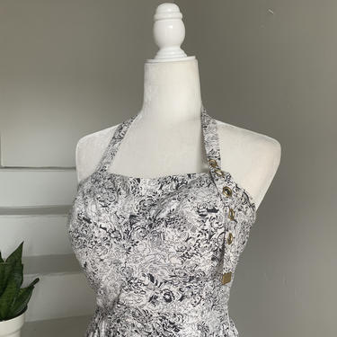 "1950's Novelty Print Grommet Dress Marilyn Monroe Vintage Halter 38"" Bust RARE! by AmalgamatedShop"