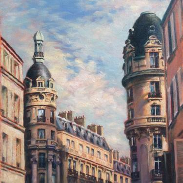 Paris France, Large Art Print from Original Oil Painting by Pat Kelley. Travel Art. Rooftops in Passy, Cityscape, Parisian Architecture by PatKelleyStudio