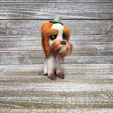 Vintage Japan Jestia Stuffed Dog, Leather Toy Moustache Dog, Sad Looking White Schnauzer Dog Wearing Hat, Fur Hairy Eyebrows, Vintage Toys by AGoGoVintage