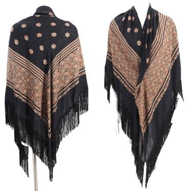 70s VALERIE PARR rayon print fringed shawl  / vintage 1970s black wrap triangular scarf by ritualvintage